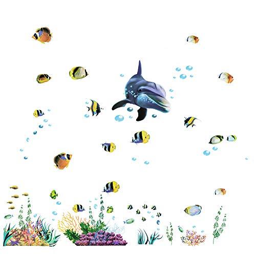 Joeyer Kinder See Meerestiere Tiere Unterwasserwelt Wandaufkleber, DIY Wanddeko für Wohnzimmer Schlafzimmer Kinderzimmer - See Tier