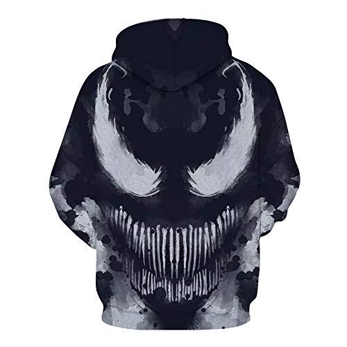 WANLN 3D Digitaldruck Strickjacke Hoodie Reißverschluss Jacke Benutzerdefinierte Halloween-Kostüm,Schwarz,L