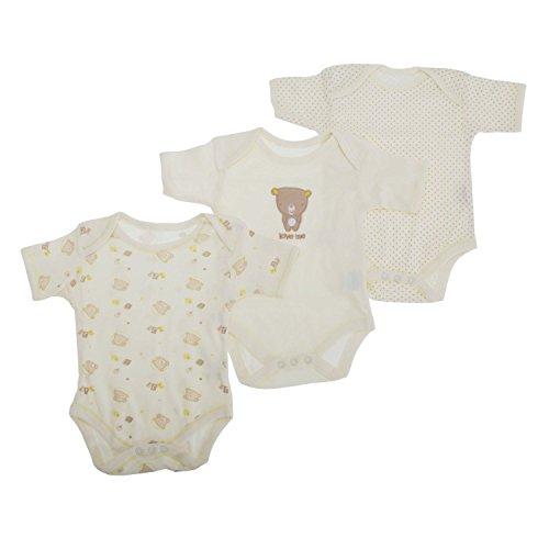Beige Shimmer (Baby-Body Unisex mit Bär Motiv, Kurzarm (3 Stück) (68-74 cm, 9 kg) (Beige))