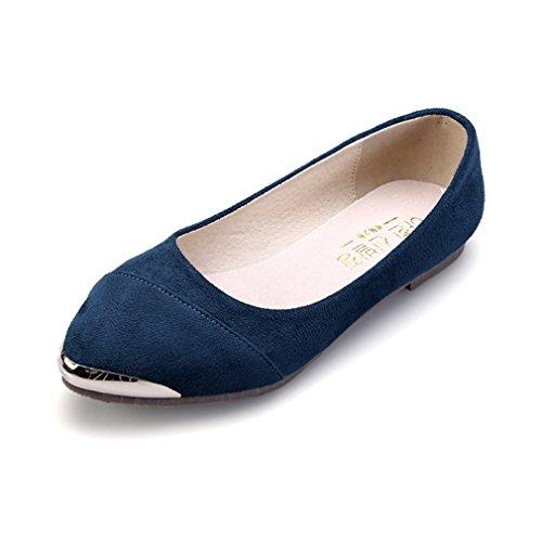 Damen Bequeme Slipper Modisch Spitz Zehen Slip On Nubukleder Leichtgewicht Soft Sommer Low-Top Schuhe Dunkelblau