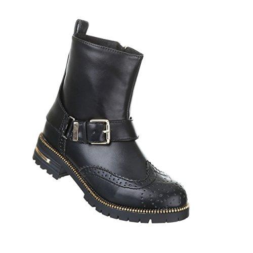 Damen Schuhe Gothic Stiefelette Boots Punk Stiefel mit Nieten Nr 21 Schwarz