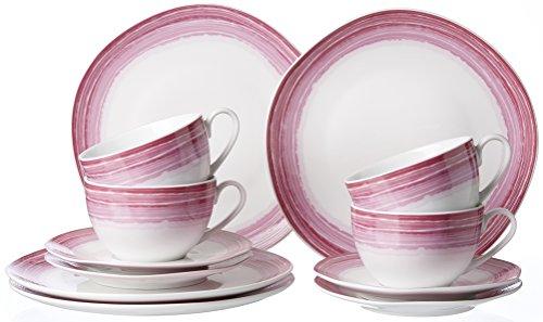 Ritzenhoff & Breker Kaffeeservice Sunrise, 12-teilig, Porzellangeschirr, Pink