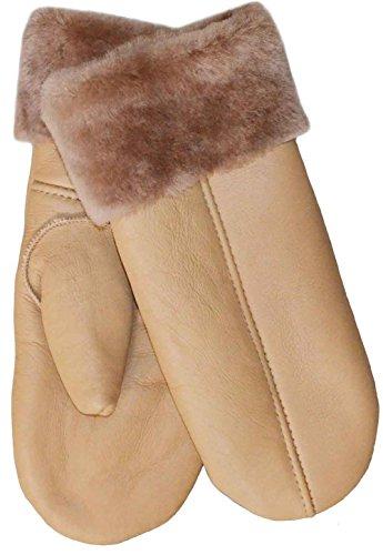 SamWo, Handschuhe/Fäustlinge für Damen, 100{f43cee029a1637ad1b40b5129b91fe31d3082862a50790dd72f54371ecfdda36} Lammfell, Größe: M, hellbraun