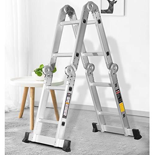 Folding Steps Ladder Wood- 4-fach verstellbarer multifunktionaler tragbarer Aluminium-Klappstuhl - Housekeeping Garden Supermarket Warehouse Home Ladder WXP