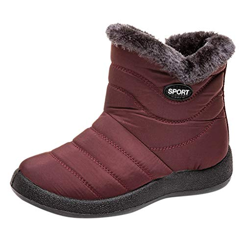 Womens Winter Snow Boots Waterproof Anti-Slip Ankle Booties Fur Lined Warm Shoes