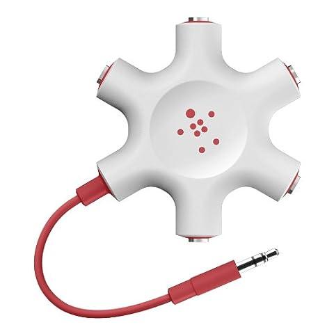 Belkin MixIt Colour Range Rockstar Multi 5-Way Splitter for Headphone - Red