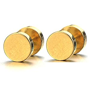 7-14MM Gold Kreis Herren Ohrstecker Ohrringe Fakeplugs Fake Ohr-Plug Tunnel Gauges Ohr-Piercing Edelstahl. 1 Paar