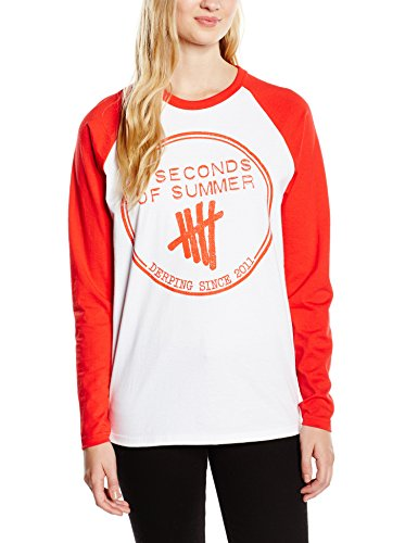 5 Seconds of Summer Derping Stamp Raglan - T-shirt - Femme Blanc