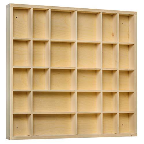 Creative Deco Setzkasten Sammelbox Holz Holztablett 28 Fächer | 44,5 x 40 x 3 cm | Bemalen Holz Sortierung Speicherregal Box Drucker | Perfekt für Decoupage, Lagerung, Dekoration