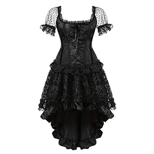 Korsett Plus Size Kostüm - FHSIANN Schwarzes Vollbrustkorsettkleid Victorian Plus Size