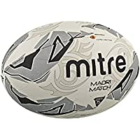 uk availability 85ad1 98912 Mitre Men s Maori Match Rugby Ball - White Silver Black, Size 5