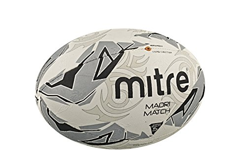 Mitre Men's Maori Match Rugby Ball - White/Silver/Black