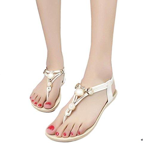 Fulltime® Femmes Bohemia douces perles Sandales clip Toe Sandals Chaussures de plage