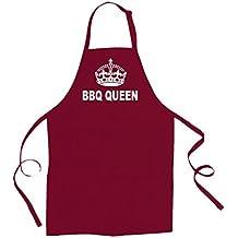 BBQ BARBECUE QUEEN-tempo, per esterni, motivo a corona, piccola, silly Grembiule unisex