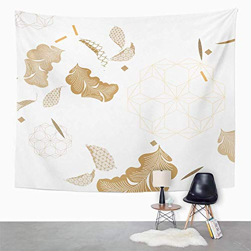 Peutry Tapisserie Wandbehang Wandteppich Hippie Flower Japanese Pattern Gold Geometric Chinese Floral Tablecloth Tapestry with Art Nature Home Decor for Living Room Bedroom Dorm Decor (150x200cm) Gold Floral Tapestry