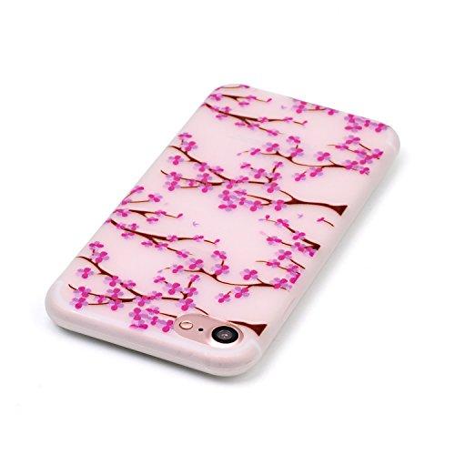 iPhone 7 (4.7 Inch) Luminous Hülle (Mit Frie HD Displayschutzfolie) Leuchtende Silikone Rückhülle Für iPhone 7 4.7'' Silikon Gel Etui Handy Hülle Weiche Transparente Luminous TPU Back Case Tasche Scha Pflaumenblüte