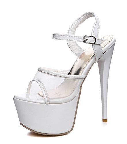 7d65b248a3d98a YE Damen Extreme High Heels Plateau Stiletto Sandaletten mit Schnalle Lack  Mesch Pumps Party Schuhe Weiß