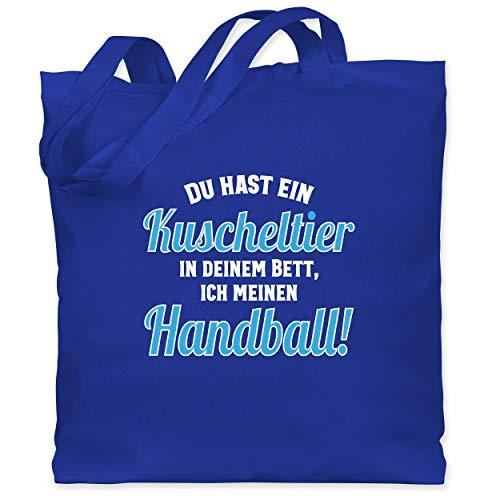 Shirtracer Handball WM 2019 - Du hast dein Kuscheltier im Bett, ich meinen Handball! - Unisize - Royalblau - WM101 - Stoffbeutel aus Baumwolle Jutebeutel lange Henkel