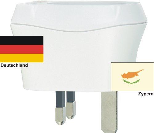 Design Reisestecker Adapter für Zypern auf Deutschland, Schukostecker 230V,Umwandlungsstecker CY-D