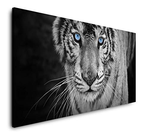 Paul Sinus Art Weißer Tiger 120x 60cm Panorama Leinwand Bild XXL Format Wandbilder Wohnzimmer Wohnung Deko Kunstdrucke