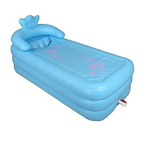 Vergrößern Erwachsene Badewanne warmen zusammenklappbar Badewanne aufblasbar Badewanne Klemme Baumwolle Verdickte Unterseite (blau XL 165x 165mit S Back.)
