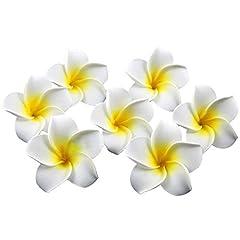 Idea Regalo - HugeStore - Fiori artificiali Hawaiani Plumeria Frangipani, 100pezzi, diametro 6,1cm, ideali per decorazioni nuziali White