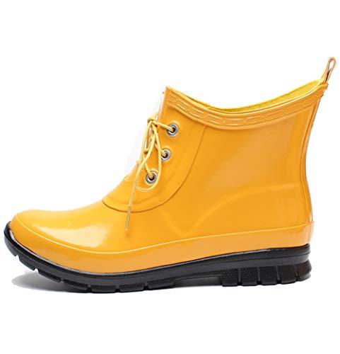 Botines para lluvia amarillas para mujer