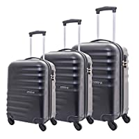 American Tourister Preston Spinner Suitcases, Set of 3, Size 55 67 77, Black