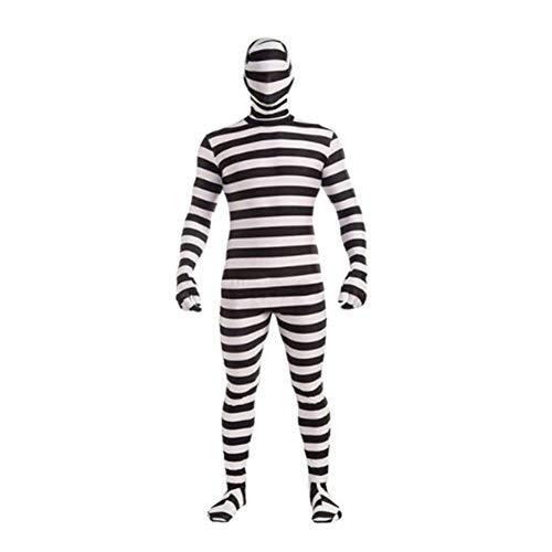 GHLLSAL Neue Erwachsene Mann Halloween Kostüm Gefangener Cosplay Schwarz und Weiß Streifen Gefangene Kleidung DS Leistung, Eine Größe
