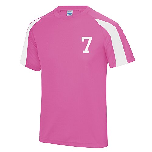 Kids Personalised Contrast Sport T Shirt Team Kit Football PE Gym Name Number - Electric Pink/Arctic White - Kids L (Age 9/11)