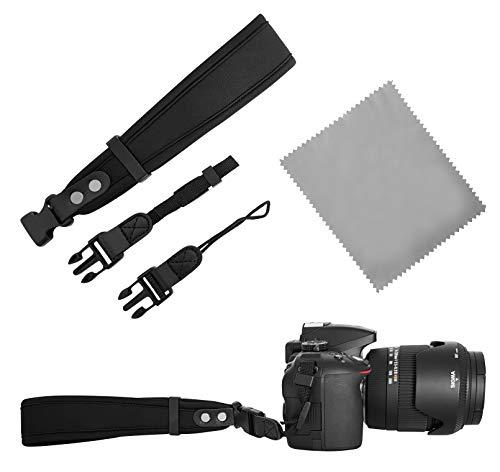Neopren Kamera Handschlaufe   2X klick-Verschluss Gross und KLEIN   schwarz   DSLR Kompakt-Kamera Kameraschlaufe Handgelenk-Schlaufe Trageschlaufe   MIND CARE ESSENTIALS -