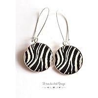 Ohrringe, Cabochon-Epoxydharz, Zebra, Wildtiere, Safari, Tierhaut, Zebra, Ohrringe