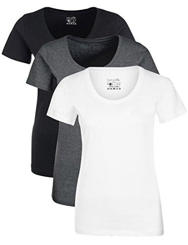Berydale Damen T-Shirt für Sport & Freizeit, Rundhalsausschnitt, 3er Pack, Mehrfarbig (Schwarz/Weiß/Anthrazit), Large