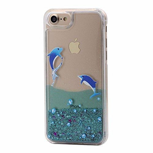 iPhone 7 Hülle Flüssig Glitzer, Kayihan Delphin Muster Niedlich Design Glanz Dynamisch Fließen Flüssigkeit Funkeln Stern Herz Treibsand Hart SchutzHüll für Apple iPhone 7 (Delphin) Harte Herzen