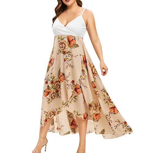Damen Kolylong® Frauen Elegant V-Ausschnitt Blumen Kleid 3/4 arm Festlich Chiffon Langarm Kleider Midi Große Größen Kleid Lang Cocktail Partykleid Abendkleid ()