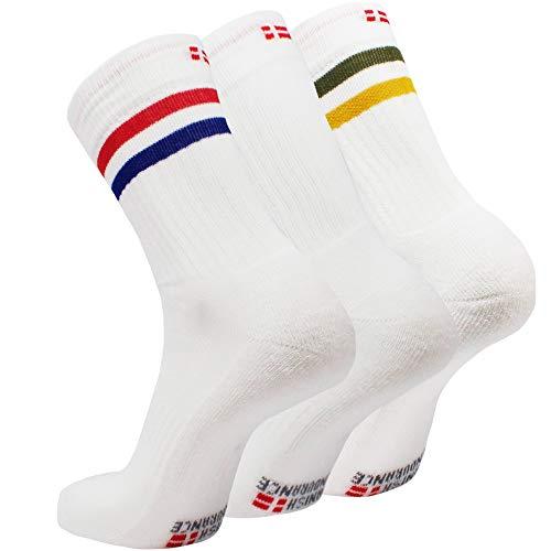 Danish endurance calzini tennis 3 paia (1 x strisce rosse/blu, 1 x bianco, 1 x strisce verdi/gialle, eu 39-42)