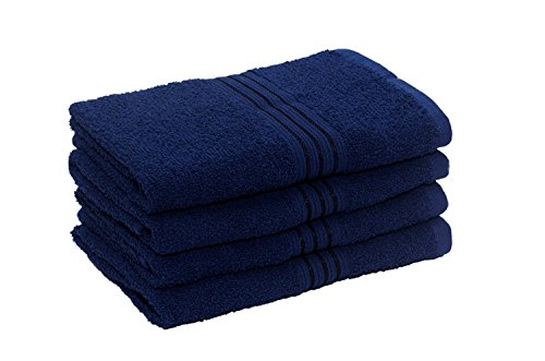 HomeStrap Classic Hand Towel Set -Navy Blue - Pack of 4