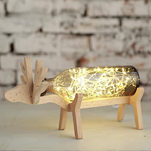 BYDXZ / Original nordischen Stil Design Glasflasche Schreibtischlampe mit niedlichen Hirsch Form Holz Halterung für Geburtstagsgeschenk, Freundin Geschenk, Kinder Geschenk, Dekoration, Schlafzimmer, g