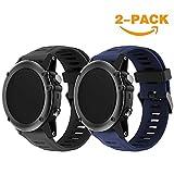 YaYuu Garmin Fenix 3/Fenix 5 x Reloj Banda, Suave Silicona Reloj Accesorio Correa de Repuesto para Smart Garmin Fenix 3/Fenix 3 HR/Fenix 5 x Reloj, Blanco (B, Black + Mignight)