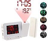 Réveil à projection et station météo sans fil 2 en 1 - Blanc