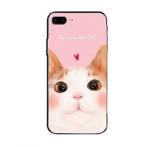 iPhone 7/7 plus / 8/8 plus Hülle, Nette Katze TPU Gummi Weiches flexibles Silikon mit PC Rückseite Einzigartiges kühles reizendes Geschenk Kitty-Mobiltelefon-Abdeckung für Apple iPhone 7 iPhone 7 plus (Pink Katze-Iphone 7 plus / 8 plus) (Pferd Geschenke H/j)