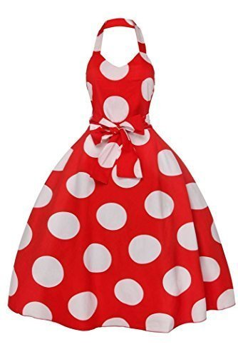 Femmes Rétro Vintage Années 1950 Dos Nu Swing Pin Up Pois Robe Rockabilly Rouge