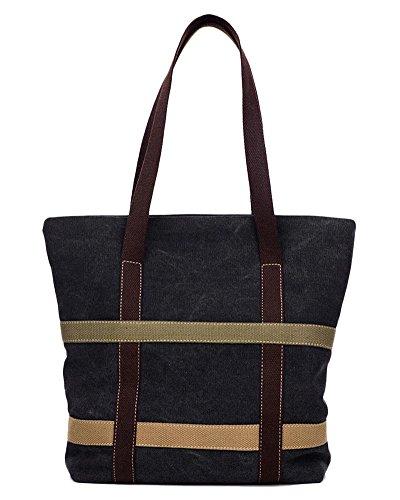 Donna Tela Scuola Borsa A Tracolla Cross Body Bag Nero Nero