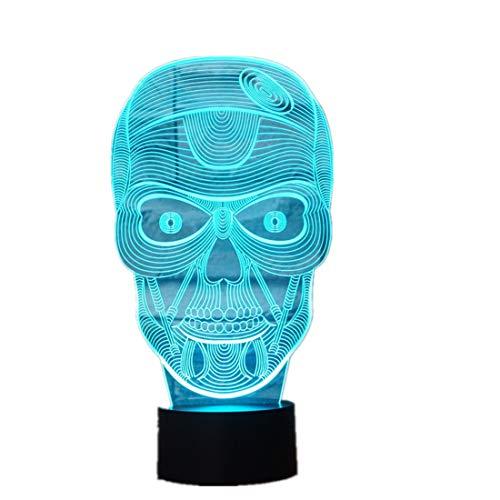 Wangzj 7 farbwechsel nachtlicht/sammeln 3d led tisch schreibtischlampe/kinder nacht lampen lampe/halloween geschenk schädel