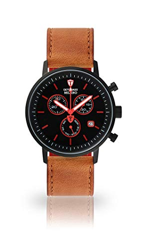 DETOMASO Milano Mens Watch Chronograph Analogue Quartz Brown Leather Strap Black dial DT1052-M-821