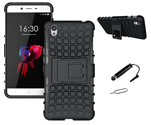 TCA Kick Stand Hard Dual Layer Rugged Armor Hybrid Bumper Back Case Cover For HTC Desire 620 620G Dual Sim - Black With Mini Stylus & Eject Pin