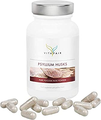 Psyllium Husk | 1350mg per Daily dose | 180 caps | 100% Pure Plantago Ovata as Natural Source of Fibre | Vegan | Highest bioavailability