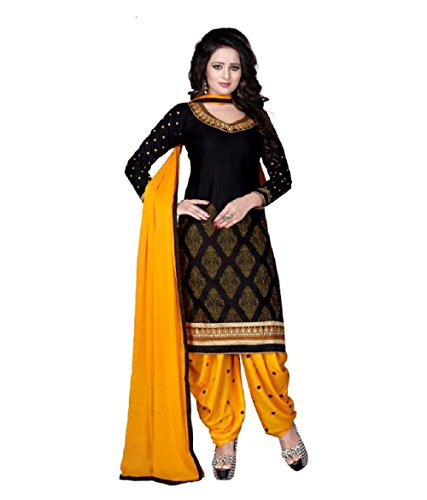 Arvicreation Women\'s Crepe unStitched Self Design Salwar Suit Dupatta Material (humaniBlack)