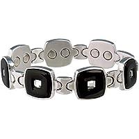 Magnetisches Armband Schwarz/Edelstahl Edelstein für Damen–SABONA Frankreich. Größe klein (165mm) für Handgelenk... preisvergleich bei billige-tabletten.eu