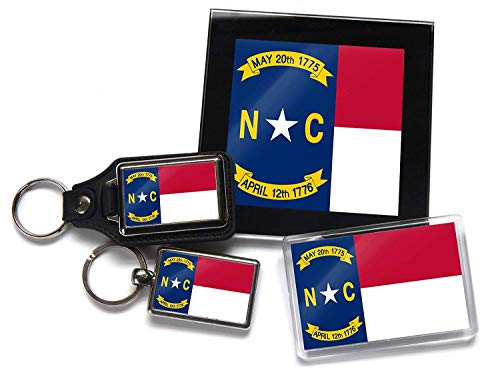 Flag of North Carolina US Staat Geschenkpaket Chrom Schlüsselring Schlüsselanhänger aus Leder Kühlschrank-Magnet und Glas Untersetzer mit Geschenk-Box -